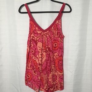 Free People Tropical Print Foley V-Neck Tank Top